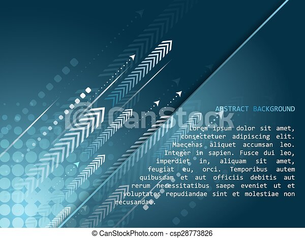 Abstract technology vector background with arrow pattern and halftone effect  - csp28773826