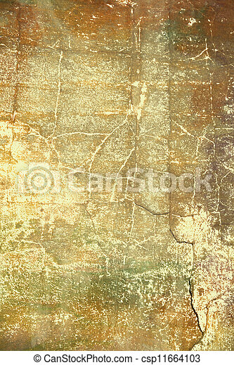 Abstract textured background: brown and red patterns on yellow backdrop. For art texture, grunge design, and vintage paper / border frame - csp11664103