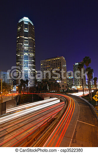 Abstract Timelapse Freeway Traffic at Night in Los Angeles - csp3522380