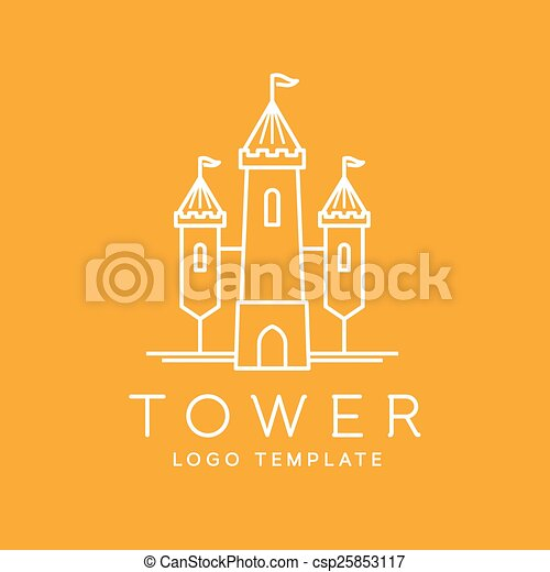 Abstract Tower Outlined Vector Logo Template - csp25853117