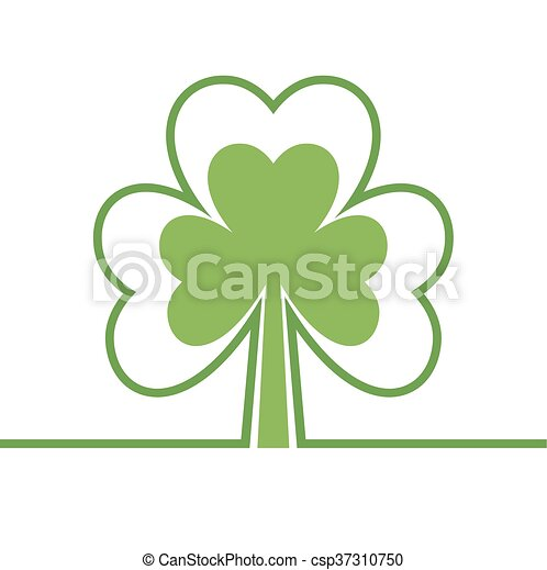 Abstract Tree Four Leaf Clover Shamrock Copy Space Isolated On White Background Modern Simple Card Plant
