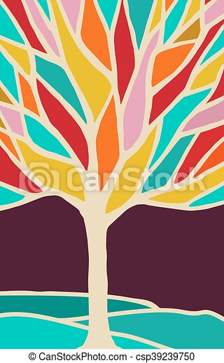 Abstract tree illustration with colorful branches - csp39239750