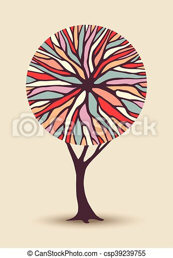 Abstract tree illustration with colorful shape - csp39239755