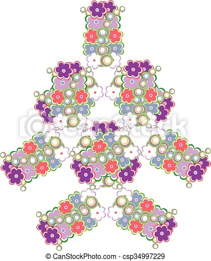 abstract tree made from cute flowers vector background - csp34997229