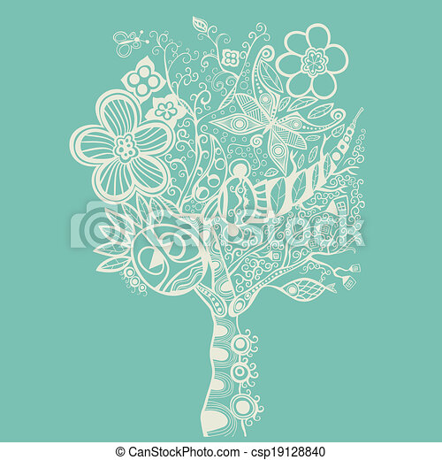 abstract tree on blue - csp19128840