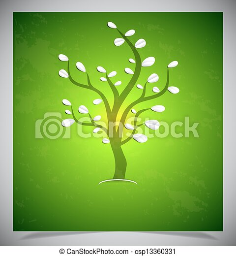 Abstract tree on green background. - csp13360331