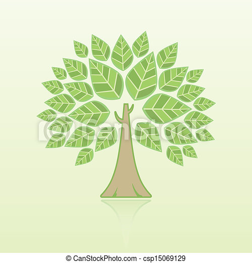 Abstract Tree on green background - csp15069129