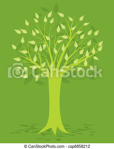 Abstract Tree, On Green Background, Vector Illustration - csp6858212