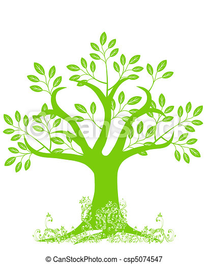 Abstract Tree Silhouette with Leaves and Vines - csp5074547