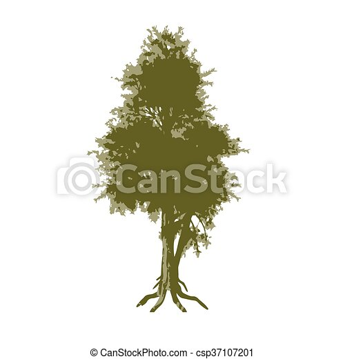Abstract tree. Trace in three colors - csp37107201