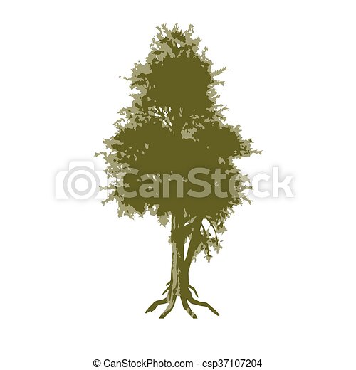 Abstract tree. Trace in three colors - csp37107204