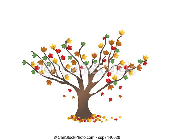 Abstract tree with autumn leaves - csp7440628