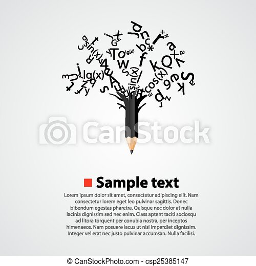 Abstract tree with black letters - csp25385147
