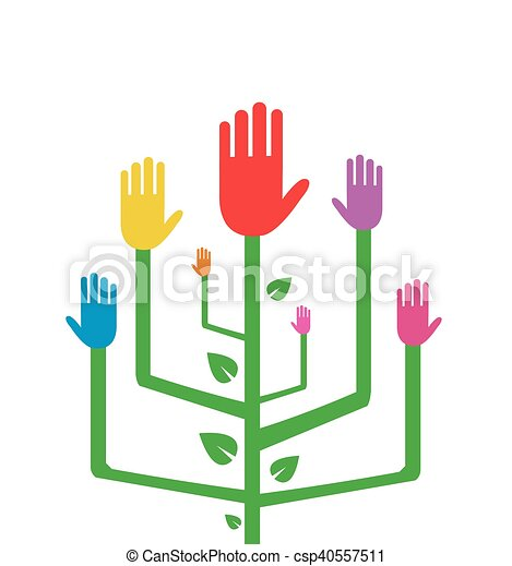 Abstract Tree with Colorful Hands - csp40557511