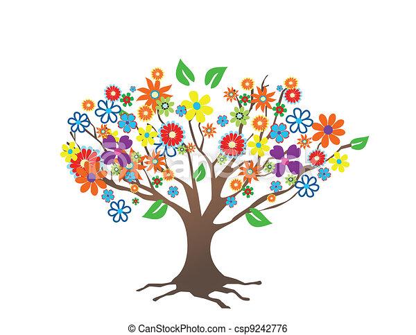 Abstract tree with flowers  - csp9242776