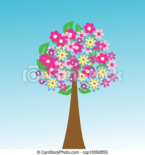 Abstract tree with flowers  - csp10092855