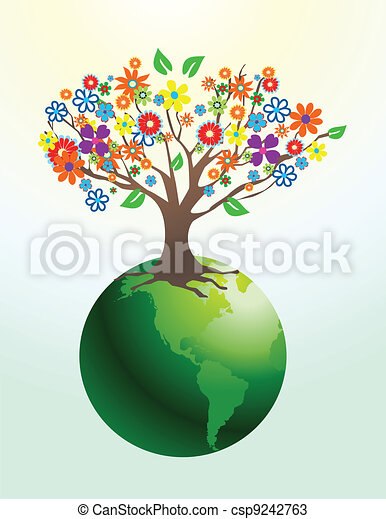 Abstract tree with flowers - csp9242763