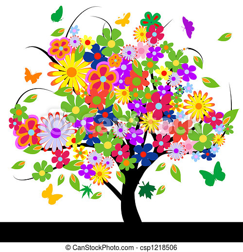 Abstract tree with flowers - csp1218506