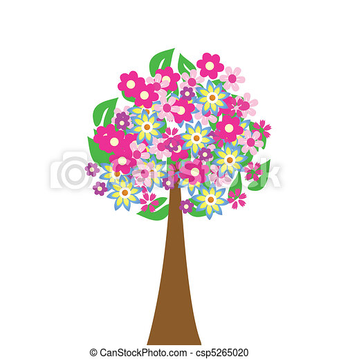 Abstract tree with flowers  - csp5265020