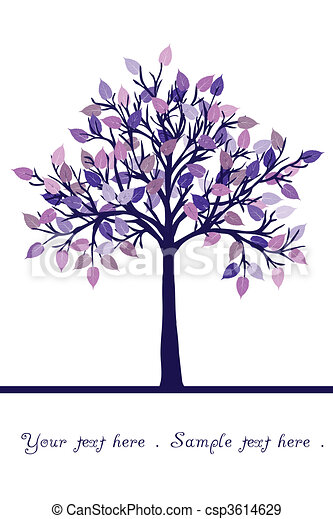 abstract tree with purple leaves rh canstockphoto com Blue Tree Clip Art Heart Tree Clip Art