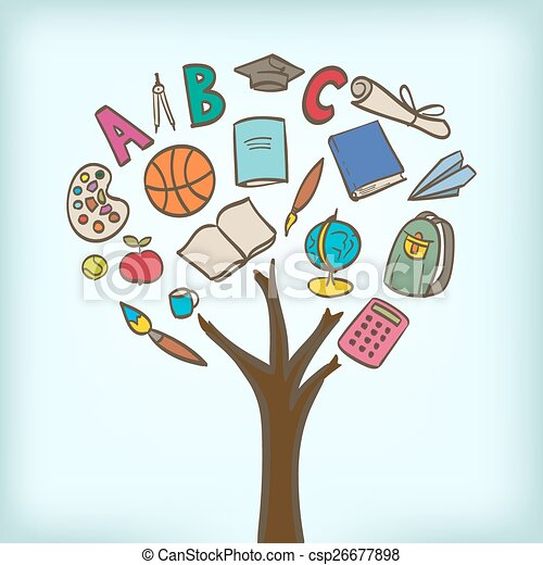 abstract tree with school utensils as leaves - csp26677898