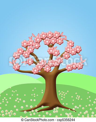 Abstract Tree with Spring Cherry Blossom Flowers - csp5356244