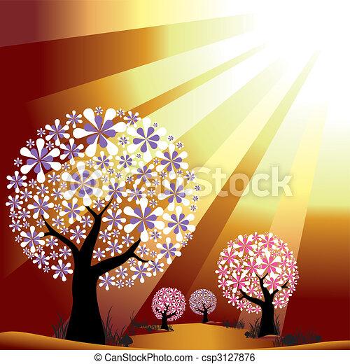 Abstract trees on golden burst light background - csp3127876