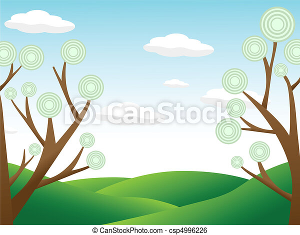 Abstract trees surrounding hill cou - csp4996226