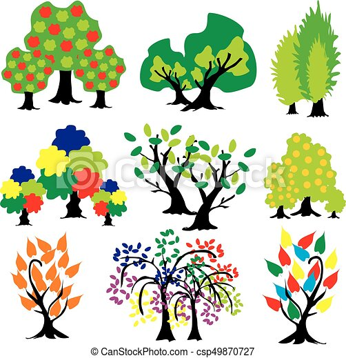 Abstract Trees With Color Leaves Clip Art