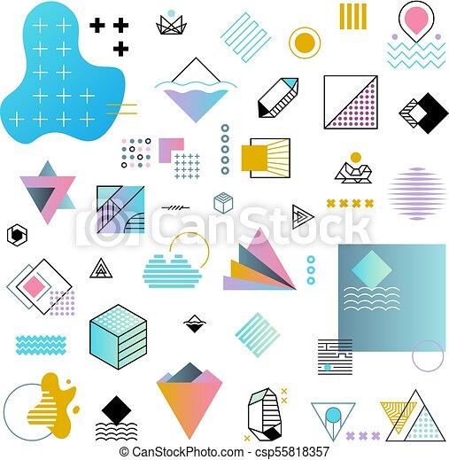 Abstract Trendy Geometric Minimal Shapes Vector Set