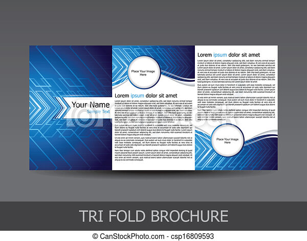 abstract tri fold brochure template - csp16809593