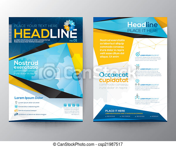 Abstract Triangle design vector template layout for magazine brochure flyer booklet cover annual report - csp21987517
