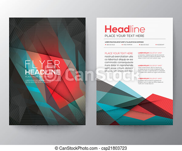 Abstract Triangle Geometric Brochure Flyer design Layout template in A4 size - csp21803723