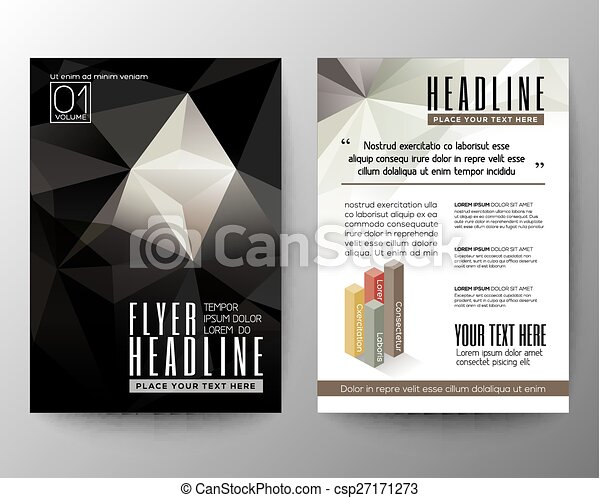 Abstract Triangle Geometric Brochure Flyer design Layout template - csp27171273