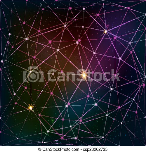 Abstract triangle grid on cosmic background - csp23262735