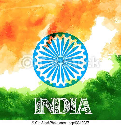 Abstract tricolor Indian flag watercolor background - csp43312937