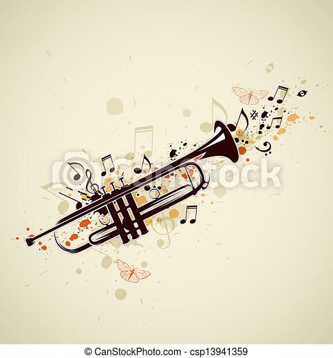 Abstract trumpet and notes - csp13941359