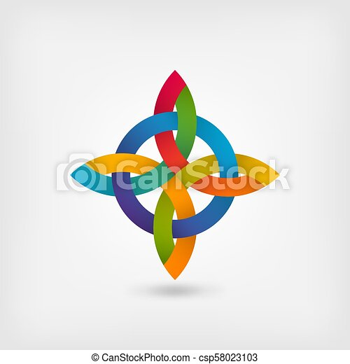 abstract twisted symbol in gradient rainbow colors - csp58023103