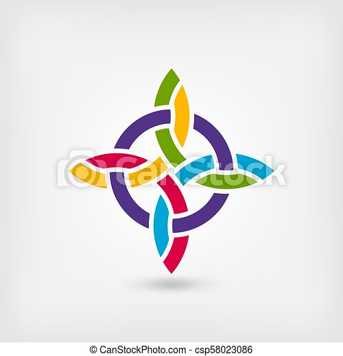 abstract twisted symbol in rainbow colors - csp58023086