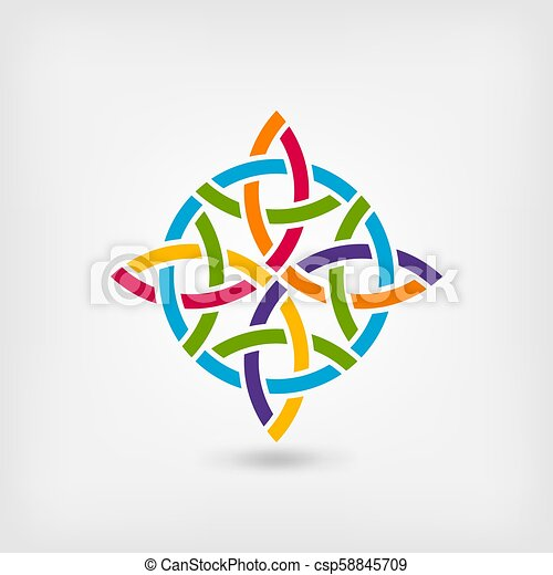 abstract twisted symbol in rainbow colors - csp58845709