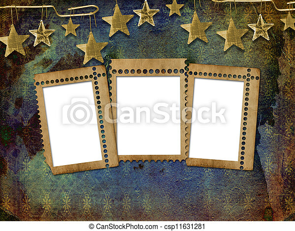 Abstract untidy ancient background in scrap booking style with frame  - csp11631281