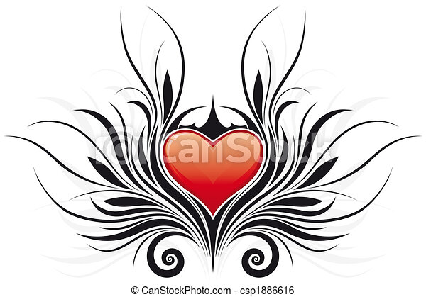 Abstract Valentine\'s Day Heart tatto - csp1886616