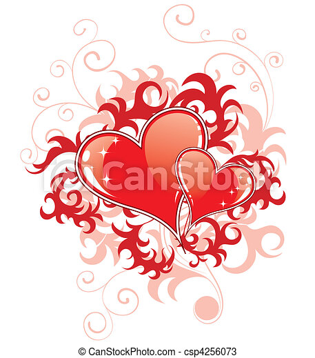 Abstract Valentines Day with hearts and florals - csp4256073