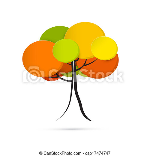 Abstract Vector Autumn Tree Isolated on White Background  - csp17474747