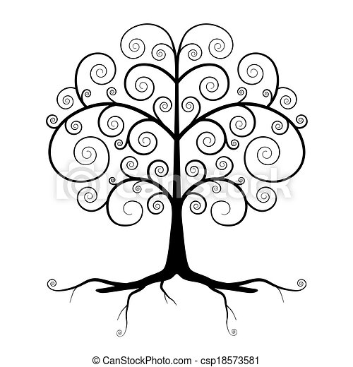 Abstract Vector Black Tree Illustration  - csp18573581