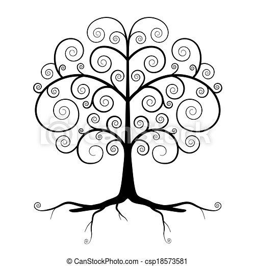 Abstract Vector Black Tree Illustration  - csp18573581
