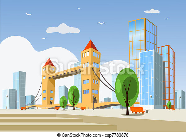 Abstract vector city - summer - csp7783876
