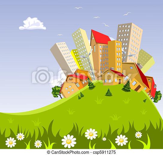 abstract vector city - summer - csp5911275