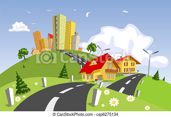 Abstract vector city - summer - csp6275134