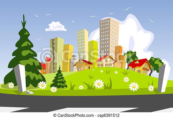 Abstract vector city - summer - csp6391512